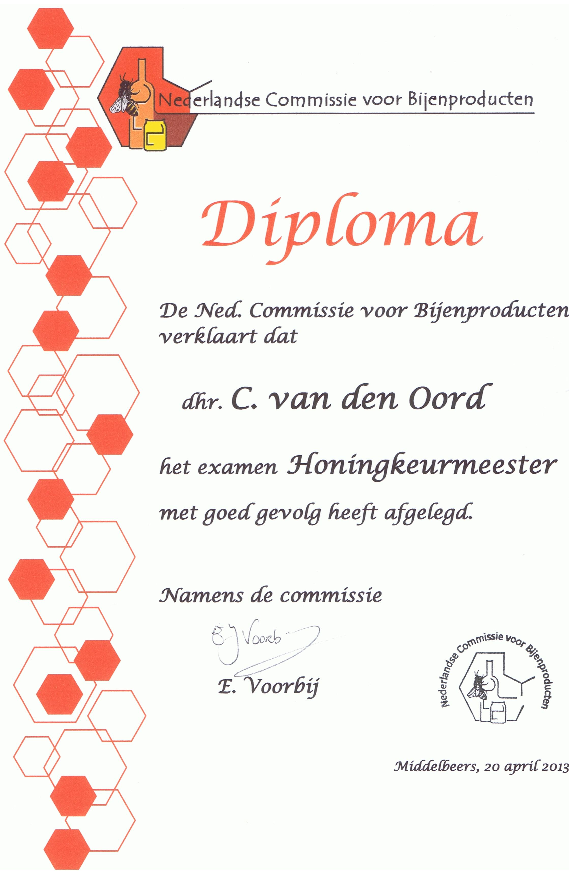 Diploma honingkeurmeester